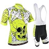 BXIO Completo Ciclismo Uomo, Abbigliamento Ciclismo Set con Pantaloncini Corti Imbottiti Traspiranti per MTB Ciclista, Reticolo del Cranio, Giallo 186 (Shirts And Bib Shorts, XS)