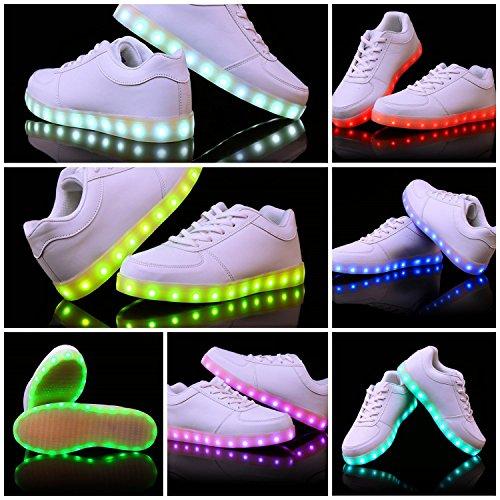 JoneyTM-Unisex-Adulto-7-Colore-USB-Carica-LED-Lampeggiante-Luminosi-Sneakers-Scarpe-Sportivet