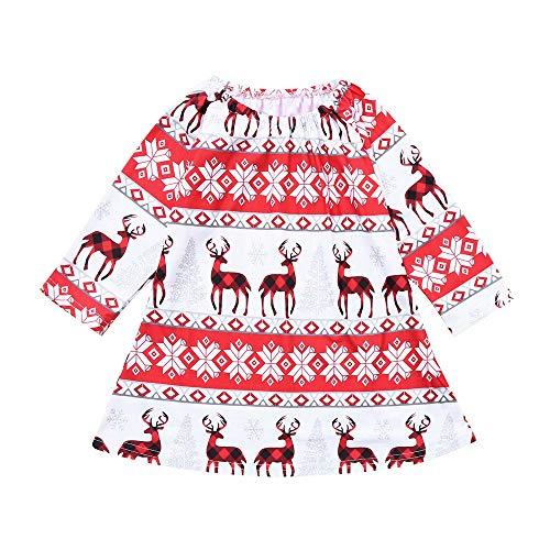 Pageantry Taufe Kleid Baby Mädchen Prinzessin Christmas Kleid Baumwolle Drucken Strickkleid Langarm Weihnachtspullover Rentier Swing Kleid Spitze Formelle Kleidung (Kostüm Rentier Schwanz)