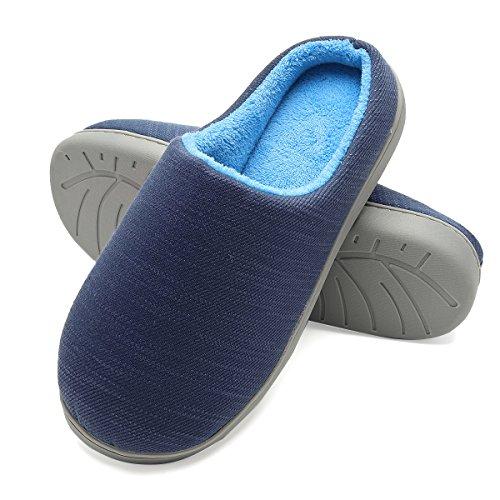 Pantofole invernali uomo in peluche da casa - scarpe pantofole in feltro ultra-morbido e caldo per casa/camera da letto, ciabatte uomini antiscivolo leggero in autunno ed inverno (blu, eu46/47)