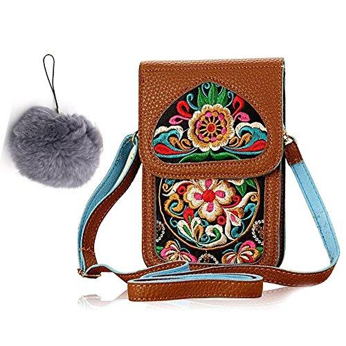 Vandot hecho a mano bordado bolso hippie Boho móvil Monedero de hombro Crossbody Bolsa Bordado para Móviles Celular, tarjetas de crédito + 1x bola de pelo - Marrón