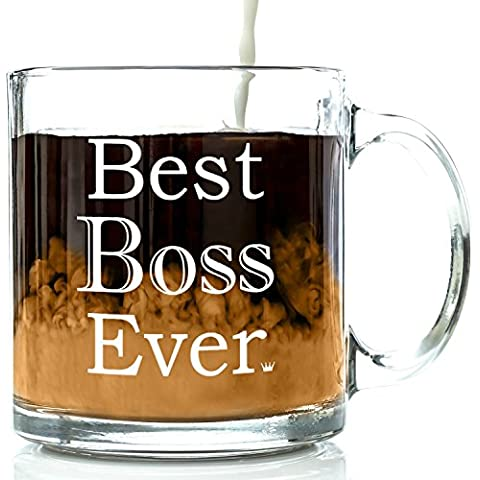 Best Boss Ever Glass Coffee Mug 13 oz - Work and Office Christmas Gifts For Worlds Best Male or Female Boss, Manager or Coworker - Top Birthday, Holiday and Retirement Present Ideas For Men and Women by Got Me Tipsy