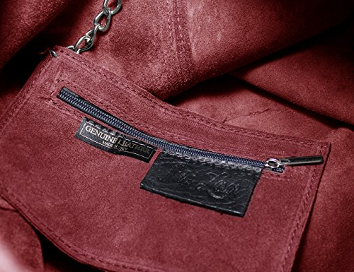 Ledertasche Tasche groß Shopper Wildleder Handtaschen Schultertaschen Beuteltasche Leder Lederhandtasche DIN-A4 Damen Rot