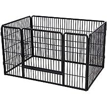 Songmics Valla de metal para perros Corral Plegable y mascotas Parque de juegos 122 x 80 x 70 cm Negro PPK74H