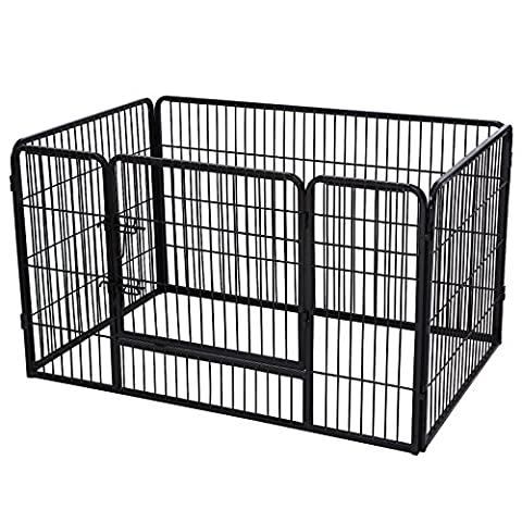 Songmics Dog Cage Crate Foldable/Assembled Cage Rail 4 Parts Black PPK74H