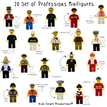 Kids Corner Productions® - 20 Mini-Pieces Set of Professions - Policeman, Fireman, Race Driver, Chef & More (Pack of 20) …