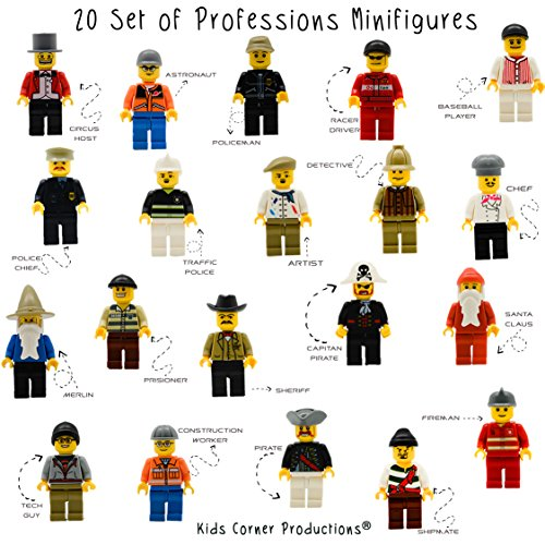 Produktbild Kids Corner Productions® - 20 Mini-Pieces Set of Professions - Policeman,  Fireman,  Race Driver,  Chef & More (Pack of 20) …