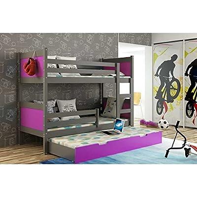 JUSThome LEON Cama juvenil infantil Litera con cajones (LxBxH): 190x85x150 cm Selección de color