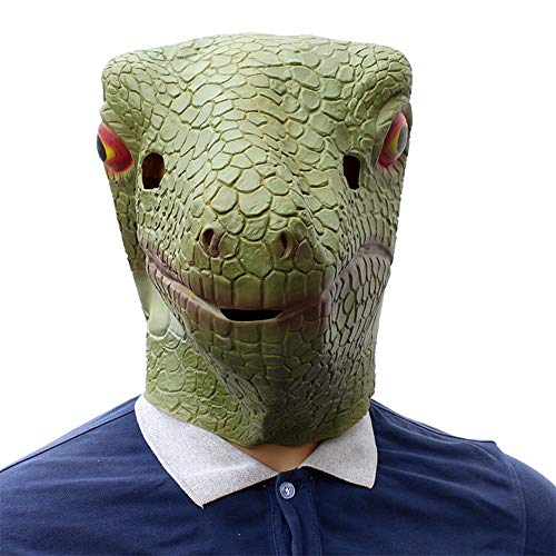XIAOMAN Eidechse Kopf Maske Realistische Latex Gesichtsmaske Halloween Cosplay Kostüm Weihnachtsfeier Rollenspiele Spielzeug ( Color : Green , Size : One Size ) (Für Eidechse-kostüm Erwachsene)