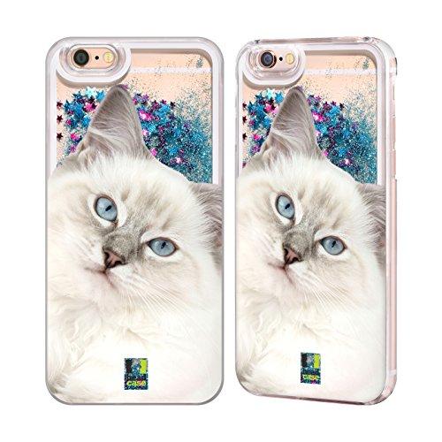 Head Case Designs Siamkatze Portrait Beliebteste Katzenrasse Himmelblau Handyhülle mit flussigem Glitter für Apple iPhone 6 / 6s Weiss Ragdoll Katze