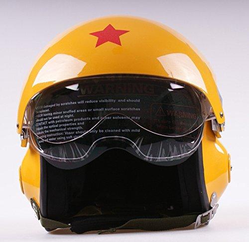 Casco jet 3/4 a doppia visiera, a viso scoperto, per moto e scooter, colore giallo