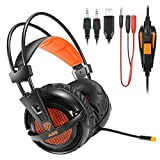 easysmx Sades Over Gaming Stereo Kabelgebundene Kopfhörer für PC Gamer Kopfhörer Stereo 7.1 Kanal virtuellen Gaming Headset 3.5 mm Jack mit BFD Mic HiFi Noise Cancelling Ultraleicht und Band Comfortable mit Blinklicht LED