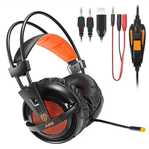 Casque Gaming PS4, EasySMX Casque Audio Filaire avec Basses Profondes, Ultraléger, Ecouteur Hi-Fi de 3.5mm Jack, bien anti-Bruit, Compatible pour PS4, PC, Xbox One, Tablettes, MP3, MP4, HUAHEI, iPhone, Sony, Samsung etc.(Noir+Orange)