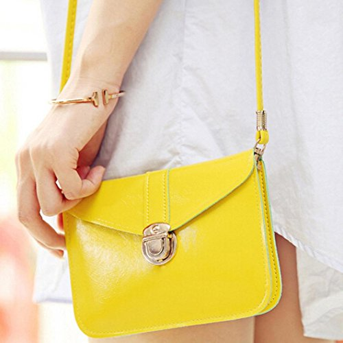 Sannysis Damen Tasche Leder Handtaschen Einzelner Schulter Kurier Telefon Tasche Gelb