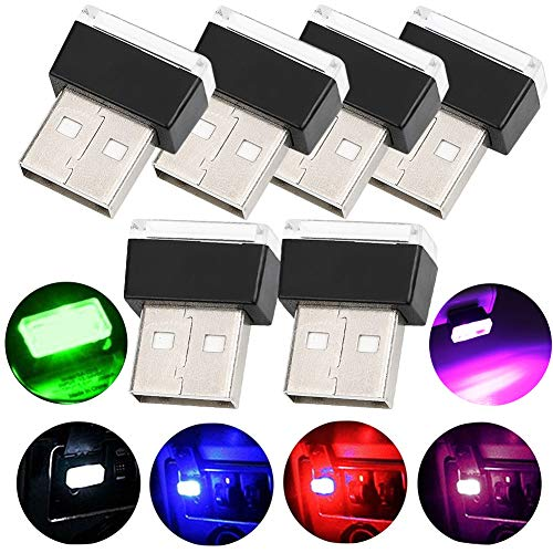 Auto USB Beleuchtung - WENTS 6PCS Auto Innenbeleuchtung Atmosphäre Licht Mini Wireless USB Universal LED Licht - Mehrere Farben - Mini Usb Led