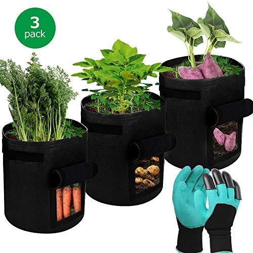 SUPTEMPO Pflanztasche, Kartoffel Pflanzsack Atmungsaktiv Pflanzbeutel mit Fenster, Tragegriffen und Gartenhandschuhe, 3er Pack
