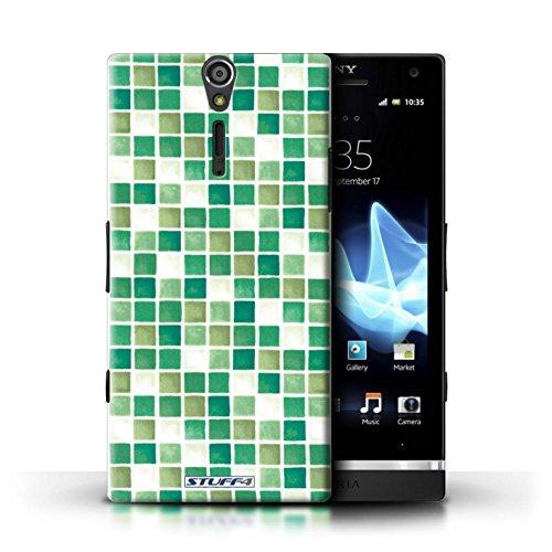 Kobalt® Imprimé Etui / Coque pour Sony Xperia S/LT26i / Violet/Vert conception / Série Carreau Bain Vert/Blanc