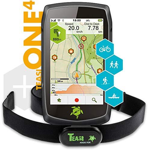 TAHUNA TEASI ONE⁴ HR Bundle - Outdoor-Navigationsgerät mit Bluetooth, Kompass und Europakarte inklusive Herzfrequenz-Sensor