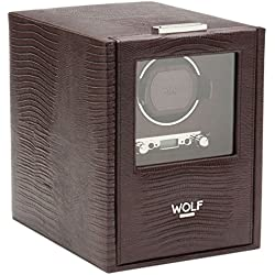 Wolf Blake Single 2.7 Automated Mechanical Lockable Watch Winder - Brown Lizard