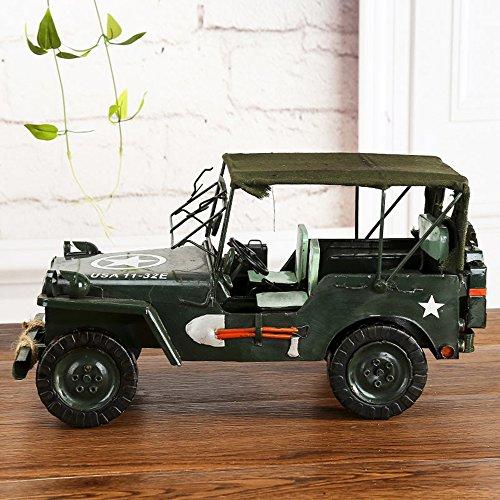 Gran Metal Vintage Willis Jeep Modelo Home Decor Decoración Adornos Handmade Collectibles Vehículo De Colección Juguetes