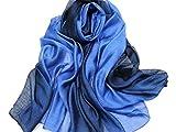 195*70cm Elegant stillvoll Seide Halstuch Stola Schal Farbverlauf Geschenk Freundin Damen (Blau)