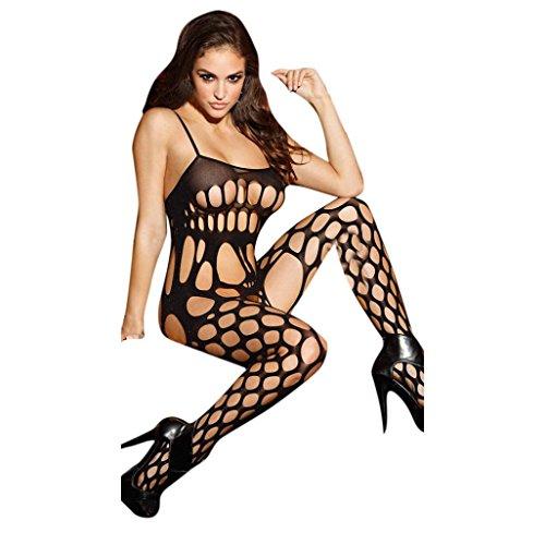 Damen Unterwäschen FORH Sexy Frauen Netz Strumpfhose Erotic Jumpsuit Bodystockings Reizwäsche Versuchung Netz Garn Negligée Overalls Nachtwäsche (Schwarz) (Netzstrumpfhose Fashion)