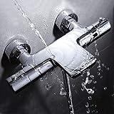 Mitigeur thermostatique mitigeur robinet baignoire cascade pour douche 2 sortie mélangeur en laiton mural fini chrome HW109 HAOXIN