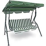 Bakaji Columpio de jardín con 3 asientos, de exterior, estructura de acero con capota ajustable, impermeable, color Verde y blanco (a rayas), Las fundas de los cojines se puede quitar