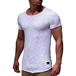 Leifheit Nelson Oversize–Camiseta de cuello redondo Basic Camiseta ln6281 Weiß medium
