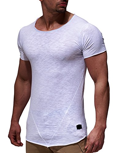 LEIF NELSON Herren T-Shirt Top Sweatshirt Sweater Rundhals Kurzarm-shirt Basic Crew Neck Vintage LN6281 S-XXL; Grš§e L, Weiss