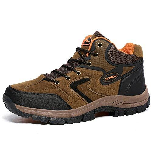 Gomnear Herren Wanderstiefel Trekking Schuhe Niedrige Oberseite Non slip Wildleder Gehen Klettern Sneaker Braun