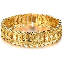 Opk joyas 18 K chapado en oro pulsera de cadena Link Cool para hombre de corona para regalos de boda pulsera de imitación de 21 cm