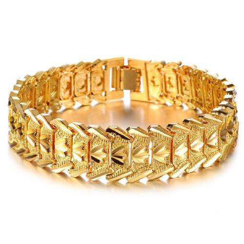 Unbekannt 18K vergoldet breit Herren Link Armband Carving Manschette Armreif Armband Hochglanz - 14k Gelb Herren Gold Armband