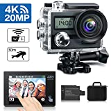 "KAMTRON Action Cam 4K Wasserdicht Aktion Kamera - 20MP Ultra Full HD WiFi Unterwasserkamera Helmkamera mit EIS 170°Weitwinkelobjektiv Sony Sensor 2""-LCD-Touchscreen 2 wiederaufladbare Batterien"