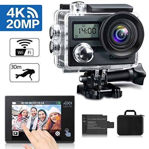 KAMTRON Action Cam 4K Wasserdicht Aktion Kamera - 20MP Ultra Full HD WiFi Unterwasserkamera Helmkamera mit EIS 170°Weitwinkelo...