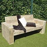 Lounge Bank Garten Möbel Bauholz 100x200x80cm natur
