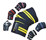 Fiteee Sport Genouillère [Knee Wraps 72inches] de Bandage pour Genou Professionnelle pour Fitness, Sport, Culturisme, Power Lifting & Crossfit–pour Hommes & Femmes (Jaune)