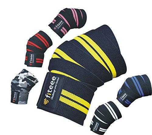 Training Kniebandage [Knee Wraps 72 inches] von fiteee - Profi Kniebandagen für Fitness, Kraftsport, Bodybuilding, Powerlifting & Crossfit - für Frauen & Männer geeignet (Yellow) - Bodybuilding-knee Wraps