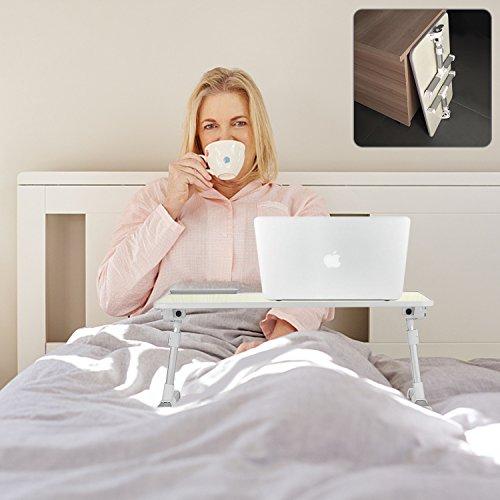 MAPUX Multifunktionstisch Tragbar Höhenverstellbar und Winkelverstellbar Laptoptisch Laptopständer Betttisch NoteBooktisch Bücherständer für Sofa, Bett, Terrasse, Balkon, Garten usw. - 5