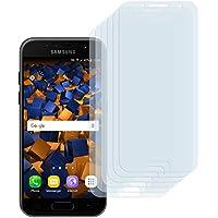 6 x mumbi Schutzfolie für Samsung Galaxy A3 (2017) Folie Displayschutzfolie (bewusst kleiner als das Display, da dieses gewölbt ist)