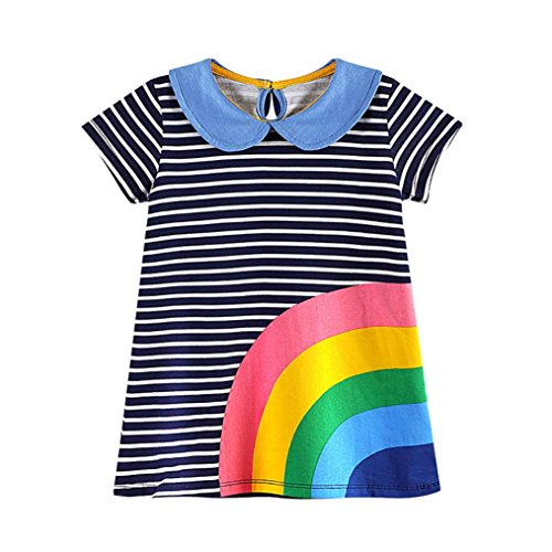 For 1-6 Years Old Kids Dress, Interent Toddler Baby Kid Girl Rainbow Embroidery Dress Stripe Dress Outfit Clothes (3T, black)