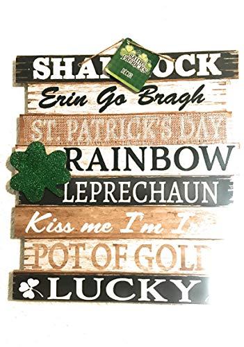 St Patrick Happy Day Kleeblatt zum Aufhängen, mit Worten Lucky, Kiss Me I'm Irish, Erin Go Bragh, Pot of Gold (Bonus Glitzer-Kleeblatt), Heimdekoration - Saint Paddys Türdekoration (St Patricks Day Pot Of Gold)