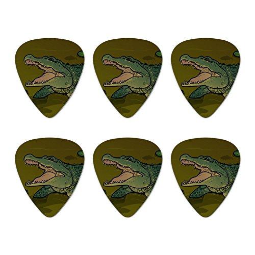 Alligator in Swamp mit Lily Pads Neuheit Gitarre Plektrum Plektron Picks Stärke Medium–Set of 6