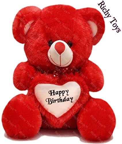 Richy Toys 2 Feet Around Birthday Heart Stuffed Soft Plush Toy Kids cute Teddy Bear (Red)