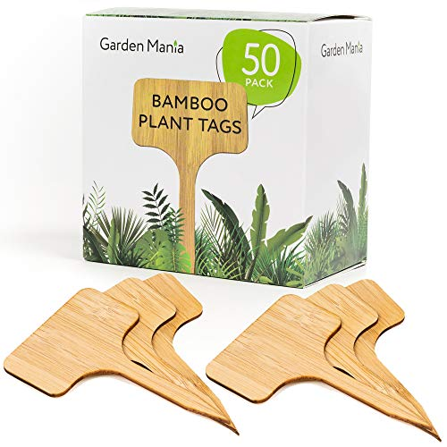 50 Pack Etiquetas de Plantas, Marcadores para Plantas, Bambú Natural - Ecológico y Biodegradable - para Jardín Hierbas Semillas Flores Vegetales - Herramientas de Jardinería y Accesorios.