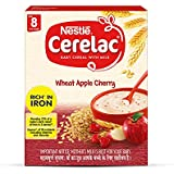 Nestlé CERELAC Baby Cereal with Milk, Wheat Apple Cherry – From 8 Months, 300g BIB Pack