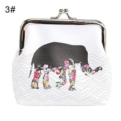 RQWY Geldbörse Eule Elefant Birdcage Print Kiss Lock Clutch Bag Geldbörse Frauen Mini Brieftasche -