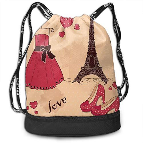 Multipurpose Drawstring Bag for Men & Women, Paris Boutique French Retro Dress Shoes Eiffel Tower,Tote Sack Large Storage Sackpack for Gym Travel Hiking