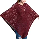 Cape Damen Elegant Mode Vintage Mantel Unifarben Party Stil V-Ausschnitt Hollow Atmungsaktiv Unregelmäßig Asymmetrisch Umhängetuch Mädchen (Color : Winered, Size : One Size)