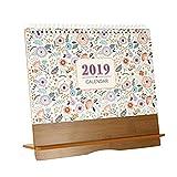 Leiyini 2019 Tischkalender Holzständer Tischkalender Große monatliche Seiten Schreibtischunterlage Planer